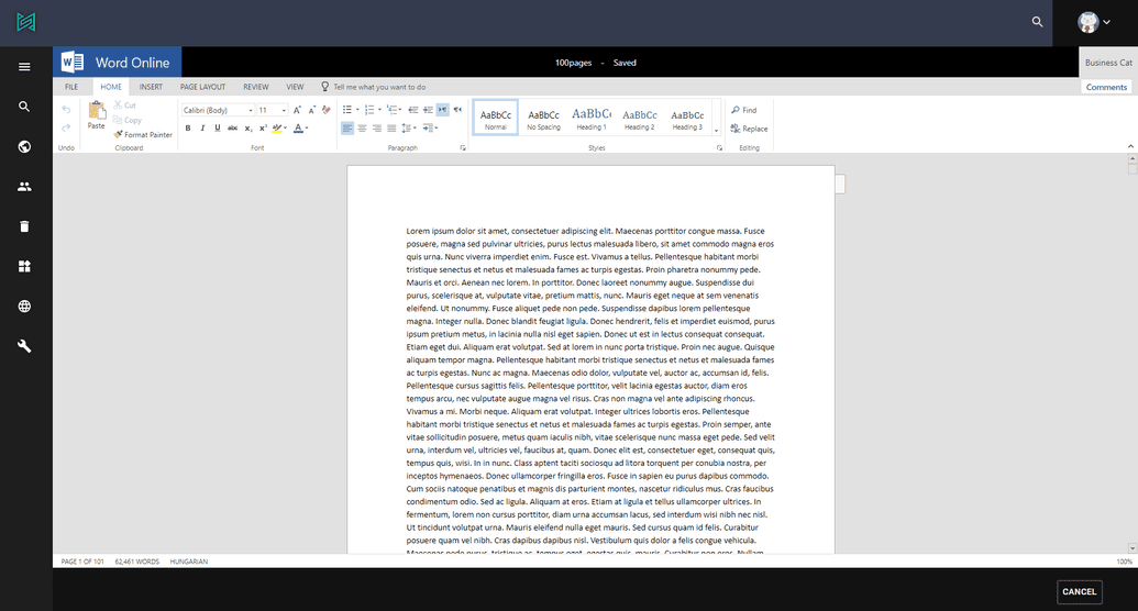 Office Online editor